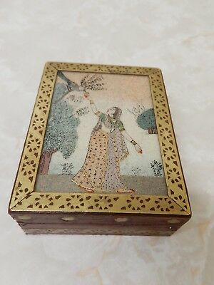 Vintage Indian/asian Handcrafted Box/holder Woman & Tree Scene 11 Cm X 8-5 Cm