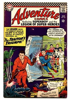 ADVENTURE COMICS #347 comic book 1966-SUPERBOY LEGION SUPER-HEROES VG/FN