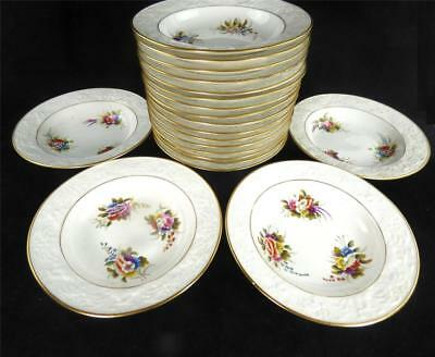 X20 C1815 Spode Porcelain Small Bowls Embossed Dolphin Border Flowers