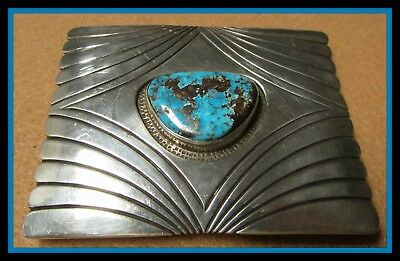 Turquoise Set In Signed Sterling Silver Belt Buckle - Bold & Wide