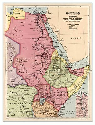 """Bacon's Excelsior MAP of EGYPT and the Nile Basin Vintage 1916 Reprint 24""""x32"""""""