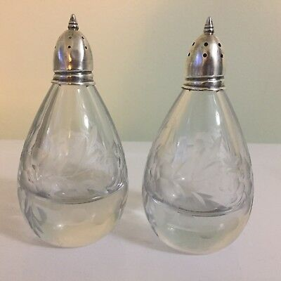 Antique Pear Shaped Floral Etched Glass Salt Pepper Shakers Sterling Silver Tops