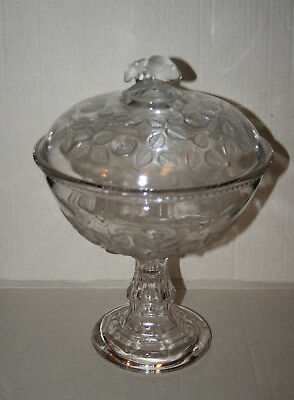 Antique Central Glass Co. Cabbage Rose EAPG Covered Fruit Dessert Compote 1870s