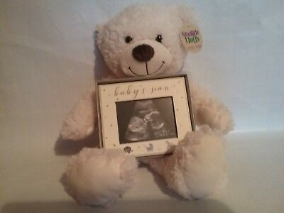 baby first scan photo frame with teddy