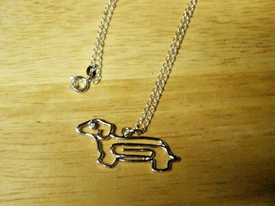 """Dachshund/doxie  Silver Tone Necklace With 18"""" Chain And Cz Eye   New"""