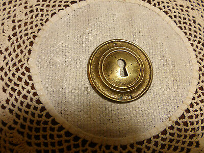 Antique Vintage Solid Brass Keyhole Escutcheon Fancy Hardware Ornate 2""