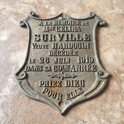 "Antique 1919 French Cast Iron Plaque ""In Memory of"" Vintage Sign"