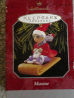 MAXINE & her DOG FLOYD ON TOBOGGAN 1998 HALLMARK BOXED CHRISTMAS ORNAMENT WOW!!!