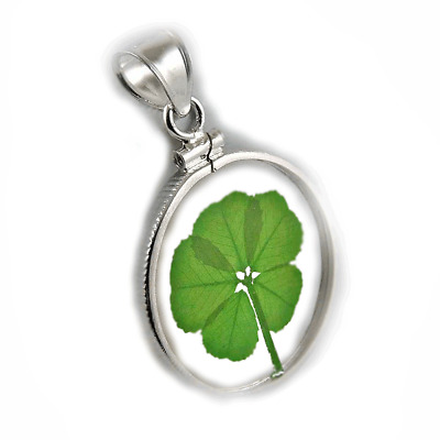 Sterling Silver Pendant &  Bail with a Real Genuine 5 Leaf Clover Item RSP-5J
