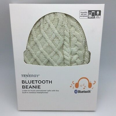 15f90d09ee4 Tenergy Bluetooth Beanie - Headphones Microphone Hands-Free - Cream Cable  Knit