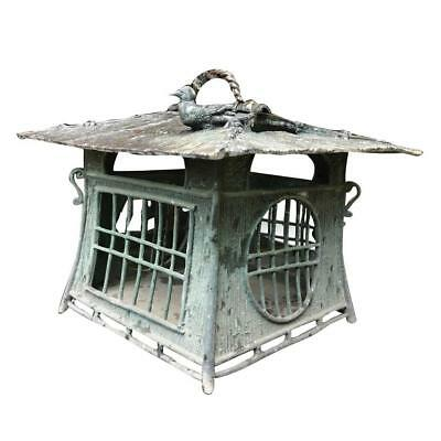 Japanese Hand made Bronze BIRD ON ROOF Lantern with Green Patina