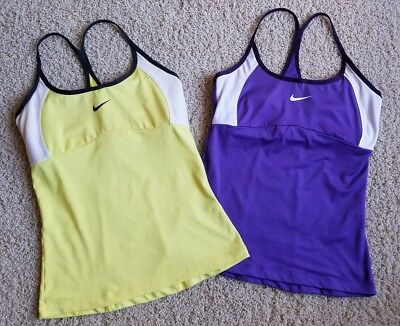 EUC Lot of 2 Women's NIKE DRI-FIT Running Tank Tops Sports Bra Shirts SZ M