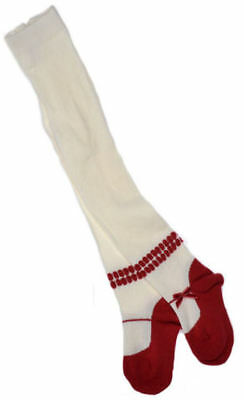 Cream & Red Baby Tights with Red Velvet Bow Variety of sizes