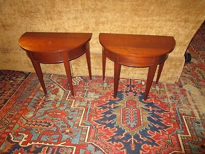 Pair Petite Vintage Sheraton Style Mahogany Demi Lune Occasional Side Tables