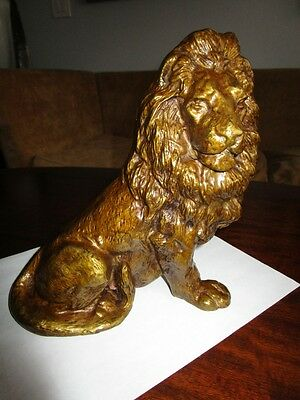Antique Large Victorian Regal Lion Sculpture Seated DoorStop Bronze Patina c1900