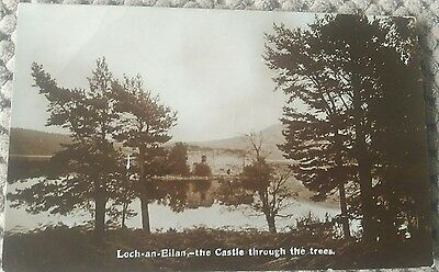 Vintage Scottish Postcard.   Loch An Eillan. The Castle Through The Trees