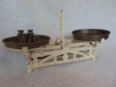 Antique Cast Iron French Kitchen Scale Ornate Balance Beam w Brass Pans Vintage
