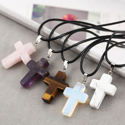 Cross Natural Stone Pendant Necklace Healing Point Chakra Leather