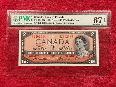 Bank of Canada  BC-30b  1954 2 Dollar *Devils Face*  PMG 67EPQ SUPERB GEM POP 6