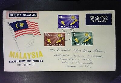Malaysia 1963 Airmail First Day Cover to USA / Creased Corner - Z1499