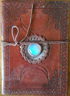 "Triple Moon with Stone Leather Book of Shadows 7"" Journal Parchment Pages"