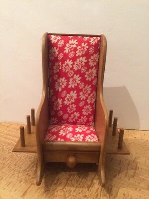 Rocking Chair Vintage Pin Cushion Thread Holder Plastic With Drawer