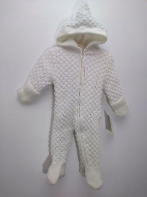 Vtg Quiltex Snuggle Duds Knit Snow Suit Fleece Lined Union Made Ivory 6 Infants
