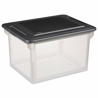 "Sterilite 18689004 18.5"" X 14"" X 11"" File Box Clear Base With Black Lid"