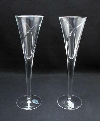 Stunning Pair Of John Rocha For Waterford Crystal Siren Champagne Flutes Glasses