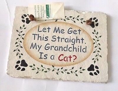 "Grandchild is a Cat Welcome Slate 6"" x 8"" Leather Hanger New Birthday Pet Gift"