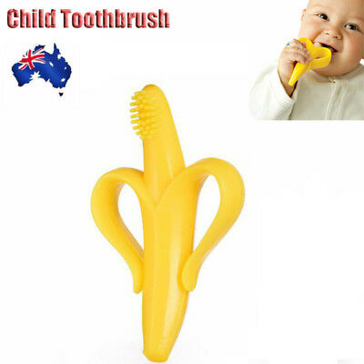 New Baby Banana Infants Soft Safe Teether Chewable Bendable Training Toothbrush