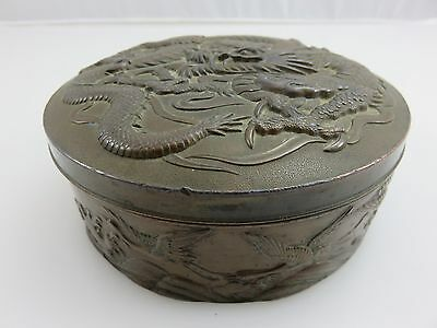 Bronze Round Inkstone Box Dragon Cranes Oriental Asian Chinese Ink Stone