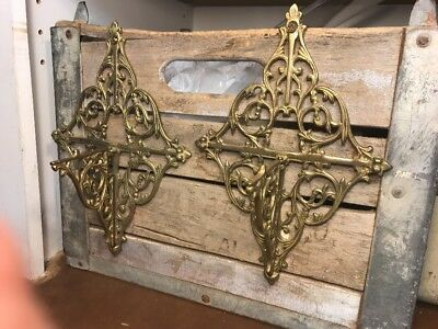 "Lot of 2 Beautiful Vintage SOLID BRASS SHELF BRACKETS ARCHITECTURAL 10"" Tall"