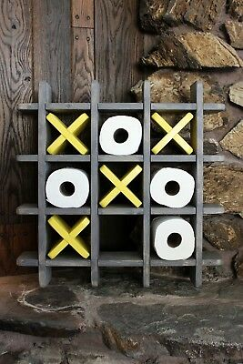 Bathroom Tic Tac Toe - Made to order - Toilet paper holder - Toilet paper Tic...