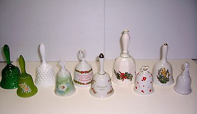 Vtg Retro Mixed Lot Ceramic Glass Hand Table Bells Floral Hobnail Crafts Favors