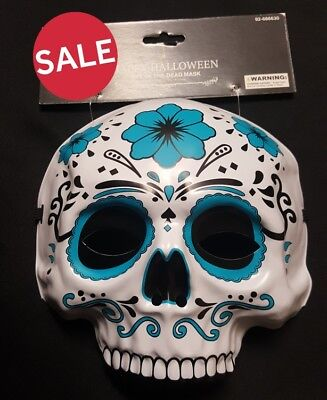 Sugar Skull Day of The Dead Blue Mask or Decoration NEW
