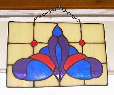 "Vintage Artisan Made Stained Glass Hanging Panel..Signed..10.75"" x 6.75""..Lovely"