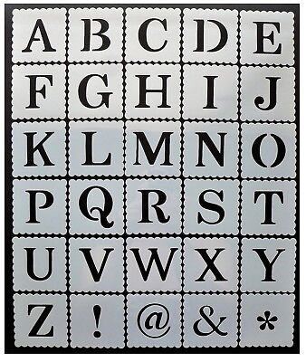 ALPHABET LETTER & NUMBER STENCILS 40mm 50mm 60mm - 4cm 5cm 6cm Tall Letters