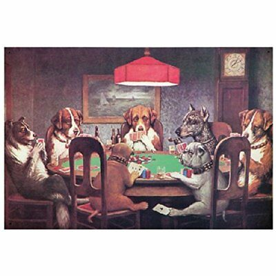 Decorative Signs Dogs Playing Poker Metal