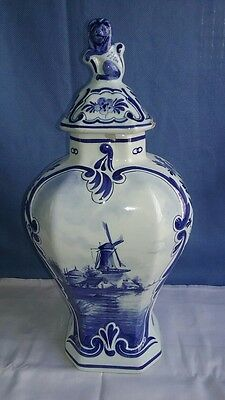 Early 19th Century Vintage Hand Painted Windmill Delft Foo Lion Lidded Urn/Vase