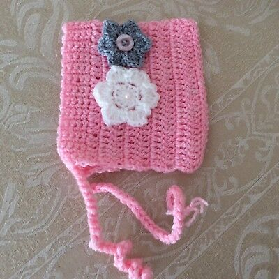 NEWBORN PINK  Handmade CROCHET PIXIE bonnet -Made in WA - photo prop