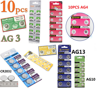 10PC AG4 AG13 CR2032 LR44 SR44 3V 1.55V Alkaline Button Coin Cells Watch Battery
