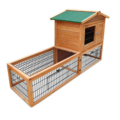 Chicken Coop Cottage Pet Rabbit Hutch Guinea Pig House Cage Run 2 Storey AU Ship