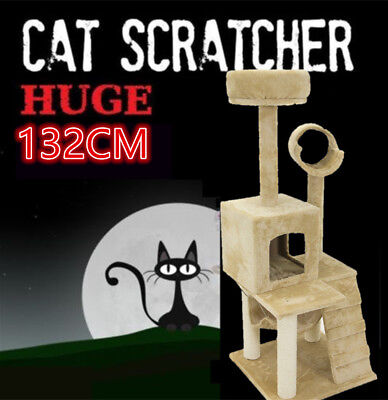 Large Cat House Scratching Post Tree Scratcher Gym Toy Home Furniture 132cm