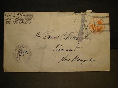 USS HYDROGRAHER AGS-2 Naval Cover 1944 Censored WWII Sailor's Mail PALAU
