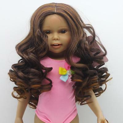 Black Big Wavy Wig Hair Fit for 18'' American Girl Doll DIY Making Supplies