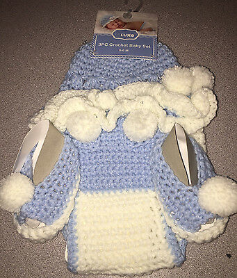 BABE LUXE Baby 3 PC Crochet Knit Set 0-6M WHITE LT.BLUE POM POMS NEW