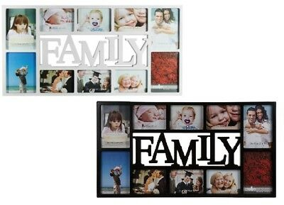 Plastic Family Picture 10 Photos Frame Hanging Picture Frame Memories White/BlaK