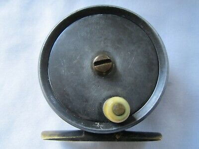 """Fine Vintage Fly reel 2 3/4"""" Jeffery & son Plymouth leaded finish Stunning Rare"""