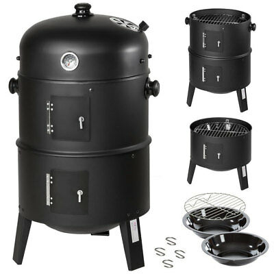 Barbecue A Legna E Carbonella 3In1 Bbq Grill Affumicatore + Indicatore Di Calore